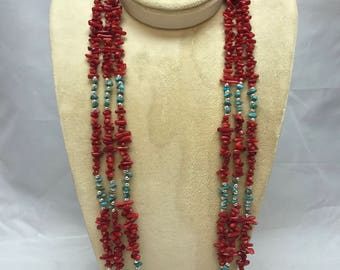 Southwest Red Coral and Turquoise Multi strand Necklace