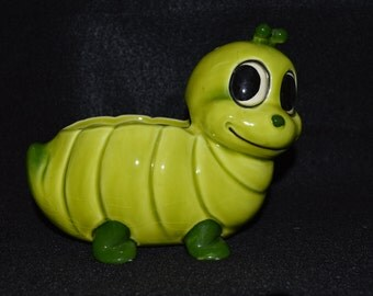 Vintage Green Caterpillar Planter, Ceramic Caterpillar Worm Plant Holder, Happy Green Worm Painted Planter, Unsigned