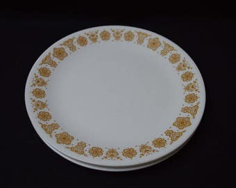 "Vintage Corningware Corelle Butterfly Gold, 5 Corelle Dinner Plate Gold Butterfly Pattern, Early Vintage Corning Pyrex Fire King, 10"" Plates"