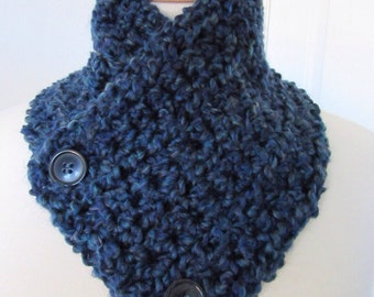 Navy Blue Button Cowl