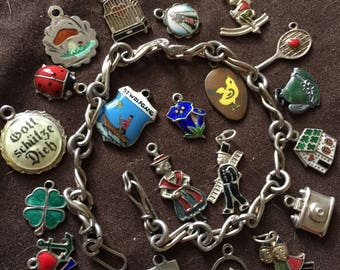 Vintage Herman Charm Bracelet with 22 Enameled Charms