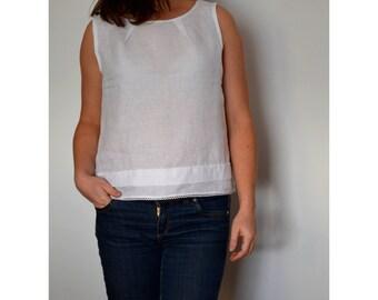 Linen top, sleeveless top, summer blouse, linen blouse, white linen blouse, plus size tops,  loose linen shirt, plus size top, top for women