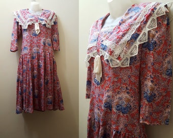 1980s Drop Waist Dress // 80s Does 20s Drop-Waist Paisley Floral Dress Fall Winter