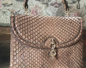 "Vintage LOEWE 1846 Brown Snakeskin Leather & Suede Purse, 10"" height x 11"" in width"