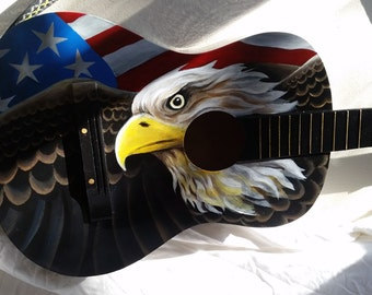 Hand Painted Guitar - American Eagle and Flag