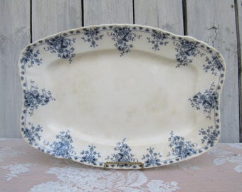 "W H Grindley & Co Blue Transferware Platter, Antique ""Arabic"" Blue Floral Platter, Decorative Wall Display Platter, Cottage Chic Dining"