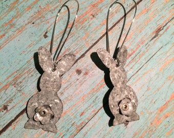 Bunny earrings, Easter earrings, spring earrings, oxidized, galvinized metal earrings