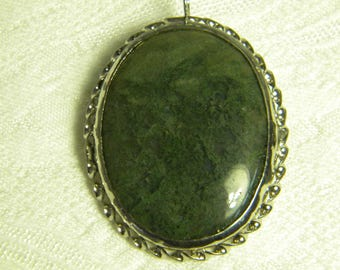 Green stone  brooch pin Sterling Necklace pendant combo