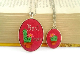 Mother daughter necklace set Embroidery jewelry gift|for|mom necklace Succulent pendant Cactus necklace Matching mommy daughter necklaces