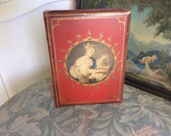 SALE!  Antique Wood Secret Book Jewelry or Treasure Box