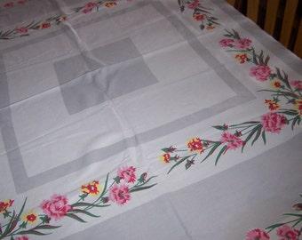 vintage Floral Dianthus vintage  tablecloth