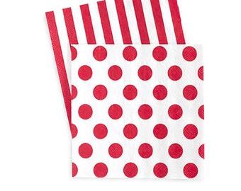 Red and White Napkins / Red and White / Red Stripe Napkins / Red Polka Dot Napkins