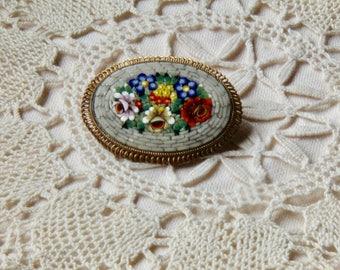 Italian micro mosaic vintage brooch