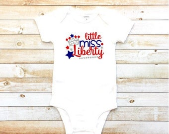 Little miss Liberty shirt, Fourth of July shirt, baby girl, toddler girl, 4th of July, bodysuit