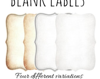 "Printable Blank Apothecary Labels(2"" x 3"") Vintage Bottle-Jars Labels, Instant Download,Four different variations blank label"