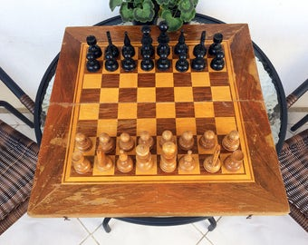 Vintage chess set Wooden chess set Big chess set 19x19 in chess set Chess game Family game Board game Wooden pieces Home decor Gift idea
