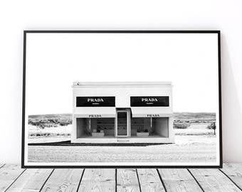 Fashion Wall Art Decor, Prada Poster, Prada Marfa Print, Fashion Print, Fashion Poster, Black and White, Prada Wall Art, Fashion Art, Texas