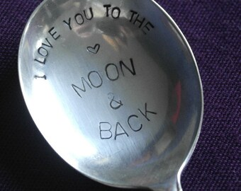 hand stamped valentones spoon love you to the moon and back