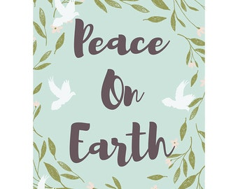 Christmas Card - Peace On Earth Love Dove Xmas Blank Card CP3115