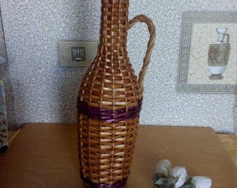 handmade organic dishes  Glass bottle woven with vine (0.7 L.) vintage USSR.very beautiful decor for your home