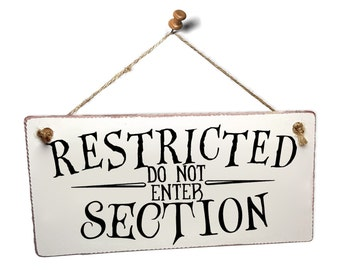 """Harry Potter Themed Hanging Wall Sign """"Restricted Section"""""""