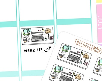 a working girl's desk - hand drawn planner stickers C004