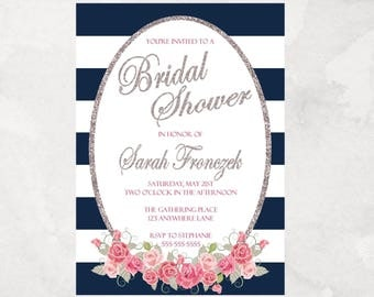 Navy Striped with Pink and Silver - Bridal Shower - Invitation - Printable - Personalized