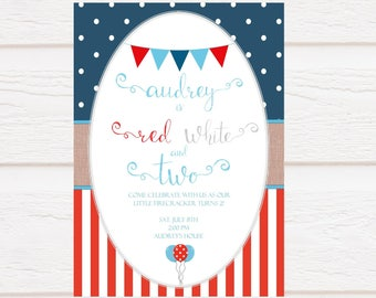 Red White and Two - Birthday Invitation - Personalized - Digital