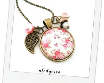Liberty necklace pink cabochon glass • bronze •