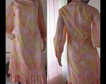Vintage 60s Charleston dress pleated dress robe M
