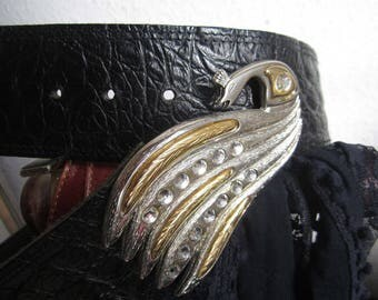 Vintage of 80s leather belt leather belt with Peacock
