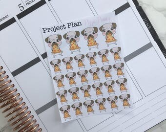 Pizza Penny Deco Sticker Sheet (28 Project Plan Penny The Pug Decorative Stickers)