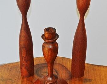 Wood Candlesticks, Vintage Wood Candle Holders