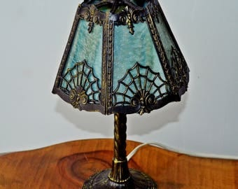 Slag Glass Boudoir Table Lamp, Art Nouveau Table Lamp, Metal Desk Lamp, Vintage Lamp, Goth