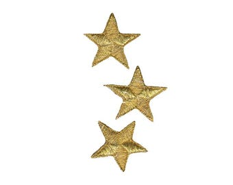 Gold Stars Iron On Applique, Gold Stars Iron on Patch, Fun Patch, Kids Patch, Embroidered Patch (451004)
