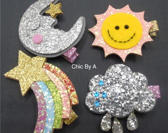 Sunshine Bow,Glitter Sun and Moon Hairpin,Rainbow Hair Clip,Cloud Hair Clip,bright and sunny, spring and summer bows,Girls bows