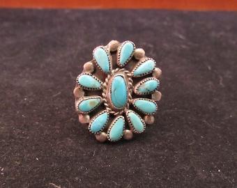 Wonderful Sterling Silver Turquouse Native Zuni Southwest Style Size 7 Ring (E746)