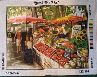 """ROYAL PARIS white canvas """"The market"""" fruits vegetables primeur greengrocer french market 132 181 47cm x 37cm"""