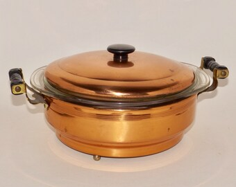 Pyrex copper and glass serving dish with lid,1.5 quart pyrex bowl,covered dish,casserole,vintage serving dish,3 piece set,copper serving