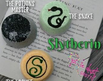 Harry Potter Hogwarts House Slytherin Inspired bath bomb set, Snape, Salazar, locket, snake