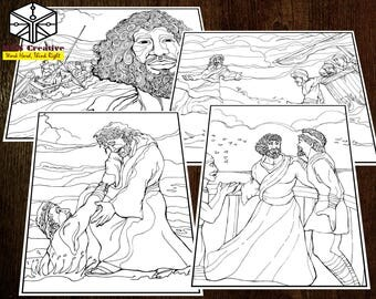 02_Bible Colouring Page with Doodles and Intricate Designs for Relaxation and Sunday School_Jesus let Peter walk on Water
