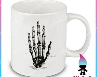 Human Anatomy - Hand -  Coffee Or Tea Mug Gift - Halloween - Vintage Skeleton Illustration - Human Anatomy Prints