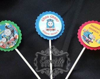 Custom Thomas the Train Cupcake Toppers -- SET OF 12