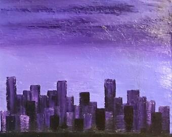 Shades of purple cityscape 15x30