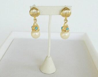 Vintage Pearl Gold Dangle Earrings