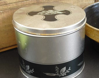 Vintage Charles Chips Collectors Limited Edition Silver and Black Canister, Metal Storage Tin Can, Camper, Nuts and Bolts Garage Can, Tin