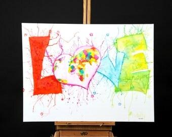 """Originale Malerei auf Leinwand von Buttafly """"Love"""" - 2013 - 60 x 80 cm (23,6"""" x 31,5"""") - Kunstwerk"""