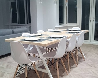 Skapari - Creator Handmade Large White Powder Coated A Frame Beach/Oak worktop Table - Made to order