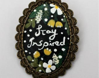 Stay Inspired Brooch. Lovely Vintage Hand Painted Cameo Pendant Necklace Polymer Clay Jewelry Nickel Free Antique Bronze
