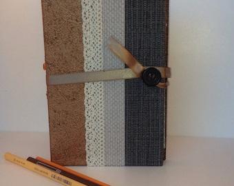 Handmade upcycled book journal/ scapbook/ memories book, travel book